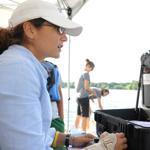 Rebecca Inver Moffa of the Rozalia Project steered Hector the Collector, an underwater robot, on Jamaica Pond.