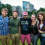 Whitehaus members (from left) Conrad Benjamin, Adam Kohl, Al and Theresa Polk, and Kate Lee on Boston Common, site of the Busker Buddies event.