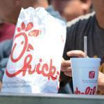 The Brea, Calif. Chick-fil-A restaurant was mobbed at lunch time Wednesday.