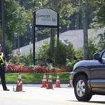 Police directed traffic outside the Comcast Center in Mansfield Friday.
