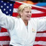 Kayla Harrison did a victory lap with the American flag after winning the gold medal.