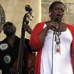 Dianne Reeves performing on Saturday at Newport.