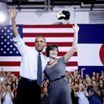 President Obama, with Sandra Fluke, and Mitt Romney campaigned in Colorado and Iowa, respectively, yesterday.
