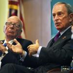 Rupert Murdoch (left) and Michael Bloomberg discussed immigration policies during a panel discussion in Boston on Tuesday night.