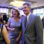 Senator Scott Brown, and his wife, Gail Huff, greeted guests at Lombardo's in Randolph Tuesday before his address.
