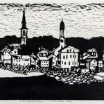 """Sea Town,"" a woodblock print by Roger Martin."