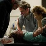 "From left: Matisyahu, Natasha Calis, Jeffrey Dean Morgan, and Kyra Sedgwick in the horror flick ""The Possession.''"