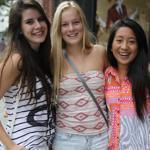 From left, Jackie Liu, Maddy McAlpine, and Sophia Gerner went shopping before the new school year.