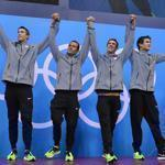 US swimmers stepped onto the podium in stylish shoes after winning the gold.