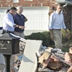 President Obama walked past debris on the sidewalks as he toured the Bridgewood neighborhood in La Place, La.