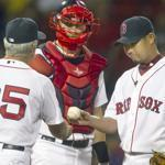 Daisuke Matsuzaka gave up five runs in 1 1/3 innings and the Red Sox lost, 9-2.