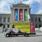 The Guerrilla Girls' billboard paused at the Museum of Fine Arts, which the group, whose members are anonymous and take the names of dead women artists as pseudonyms, complained does not display women artists equally.