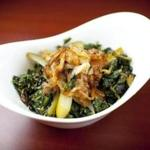 Sauteed dandelion greens with caramelized onions.