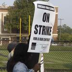 Teachers picketed outside Morgan Park High School in Chicago on Monday.