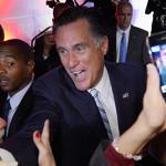 Mitt Romney greeted supporters after an event in Los Angeles on Monday.