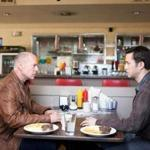 "Bruce Willis (left) is Old Joe and Joseph Gordon-Levitt is his younger self in Rian Johnson's ""Looper."""