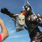 Jerry Padilla focused on the Rocky Marciano statue as it came together at Brockton High School's Rocky Marciano Stadium on Thursday.