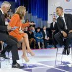 President Obama spoke with Jorge Ramos (left) and Maria Elena Salinas of Univision, Spanish-language television.