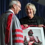 Harvard's president, Drew Faust, presented the new MIT president, L. Rafael Reif, with a picture of the statue of John Harvard in MIT garb during his inauguration Friday as the 17th president of MIT at Killian Court on the MIT campus.