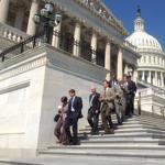 Members of the House of Representives leave the Capitol building on Friday; they plan to return after Election Day.