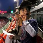 Ayden Beique, 8, was at Fenway Park for the first time, with his mother, Jill, as his birthday present.
