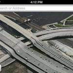 The Leonard P. Zakim Bunker Hill Bridge as rendered by Apple iOS 6's Maps program on Sept. 28.