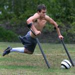 Nico Calabria, a varsity soccer player at Concord-Carlisle High School, who has only one leg, practiced with his team.