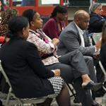 A meeting was held at the Madison Park Technical Vocational High School in Boston on the five proposals to reorganize the city's school assignment system.