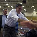 Mitt Romney shook hands in Asheville, N.C.