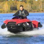 A driver tested the Quadski, a one-person watercraft that drives on land, in Oxford, Mich., on Friday.