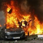 A car burned at the site of an explosion in Ashrafieh, east Beirut.