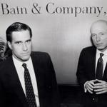 William Bain Jr. (right) and Mitt Romney at Bain's Boston offices in 1990.