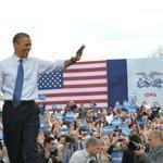 Obama at a campaign event in Iowa. He set off  Wednesday on an eight state, 7,660 mile, 40-hour tour.