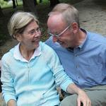 Elizabeth Warren and Bruce Mann enjoyed a break from walking Otis at Fresh Pond.