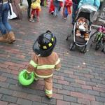 Lexington children trick-or-treated in the daytime, visiting the town's businesses.
