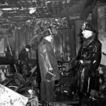 Firemen inspected the ruins of the Cocoanut Grove nightclub in Boston on Nov. 28, 1942, after a fire there killed 492 people.