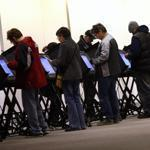 Early voting was held in Columbus, Ohio, on Tuesday. The hurricane may hamper voting in several swing states.