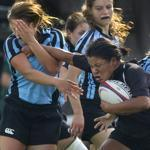 The fight for progress in women's athletics continues — just as it does here for Harvard-Radcliffe's Lenica Morales in a rugby match against Columbia.