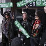 From left: Steven Tyler, Joey Kramer, Joe Perry, and Tom Hamilton show off their commemorative street signs before Monday's concert.