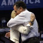 Republican presidential candidate Mitt Romney hugs his wife, Ann, after she introduced him Monday for his final speech in New Hamphire of the 2012 general election campaign.