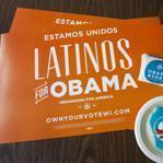 Placards and campaign stickers were stacked on a tble at the Latino regional headquarters for the Obama campaign on Election Day in Milwaukee, Wisc.