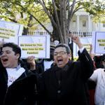 During a rally Thursday of immigration rights organizations in front of the White House, activists called on a newly reelected President Obama to fulfill his promise of passing comprehensive immigration reform.