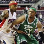 Paul Pierce drives against Detroit Pistons forward Corey Maggette in the first half of Sunday's game.