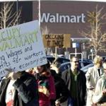 A group of protesters gathered on Black Friday at a Walmart in Secaucus, N.J.