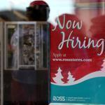 Employers added 146,000 jobs in November. A store in San Francisco advertised that it was looking for workers Friday.