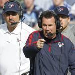 Houston coach Gary Kubiak, right, in his seventh season with the team, led the Texans to their first playoff spot last year.
