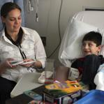 UMass medical student Meg Preissler visited with Jameson Laliberte at UMass Memorial Medical Center.
