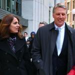 Tim Cahill left Suffolk Superior Court with his with Tina after a mistrial was declared in his corruption case.