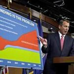 House Speaker John A. Boehner accused President Obama of not being serious about cutting spending on Thursday.
