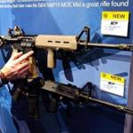 Smith & Wesson M&P15s at a trade show. The firm sold $75 million of modern sporting rifles in its most recent fiscal year.